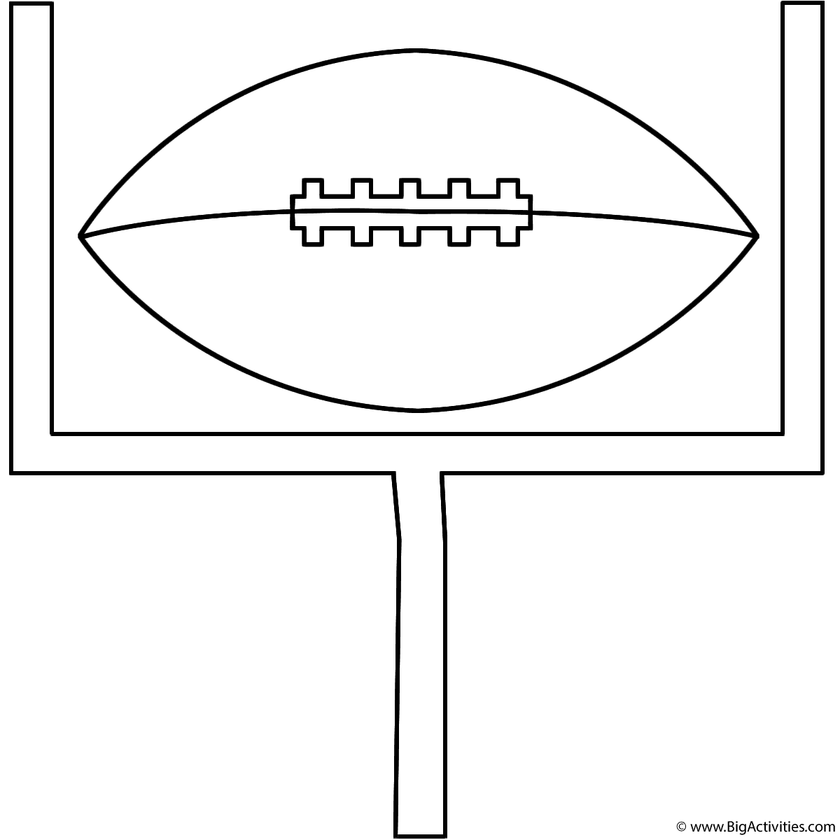 football on goal post coloring page super bowl