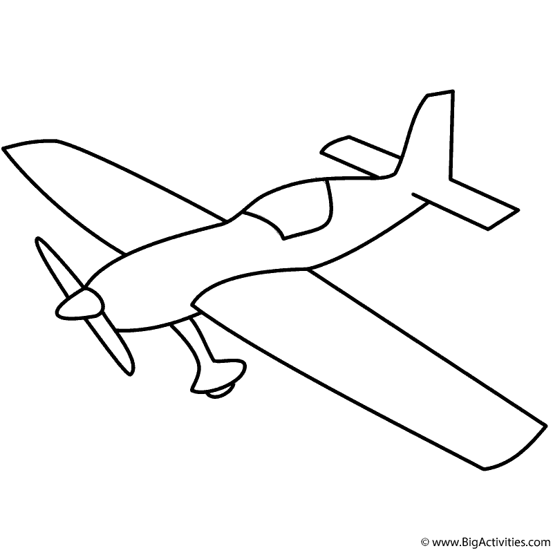 basic airplane with propeller coloring page transportation