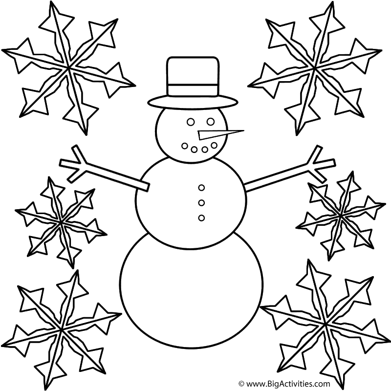 snowman with snowflakes coloring page winter