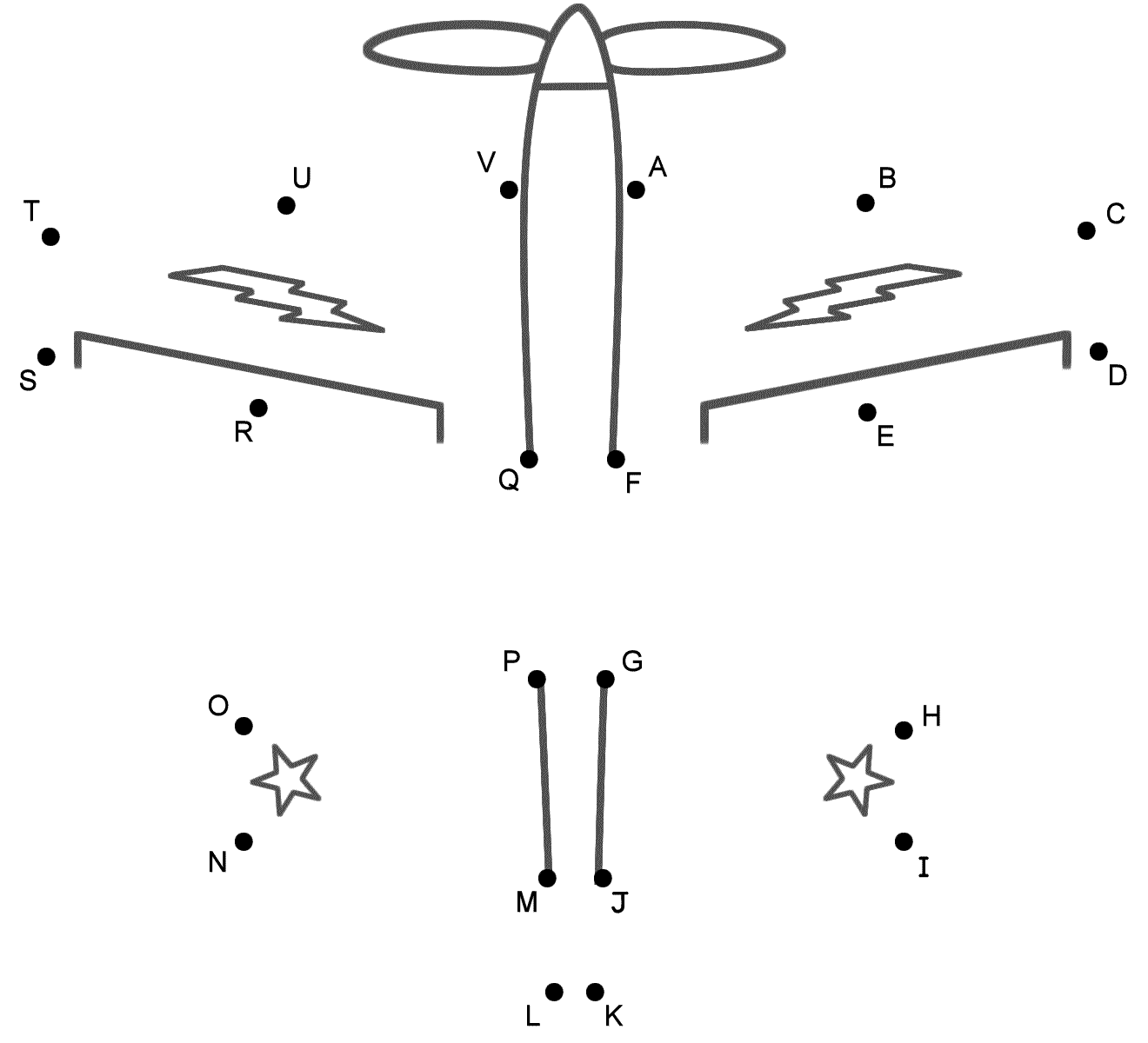 propeller airplane connect the dots by capital letters military