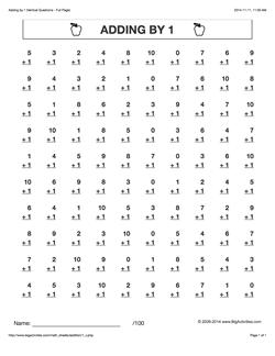 Grade 1 Math Worksheets Vertical Addition