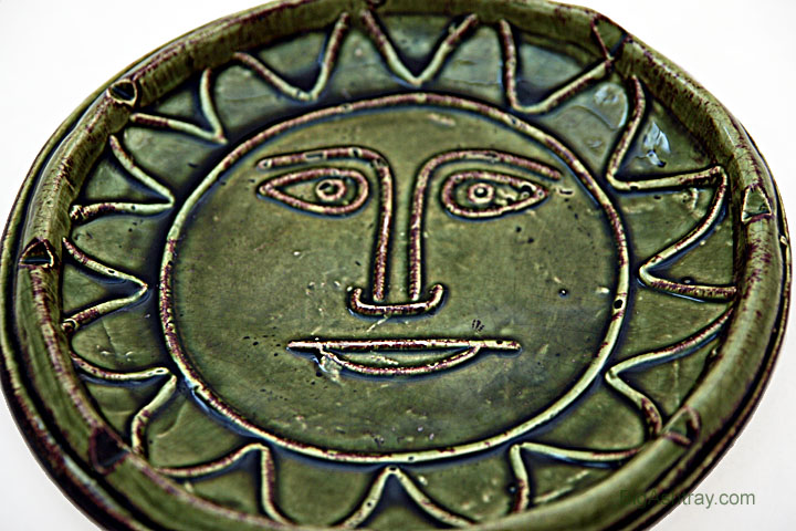 Hippie Decor Stoneware Sun Face Patio Ashtray