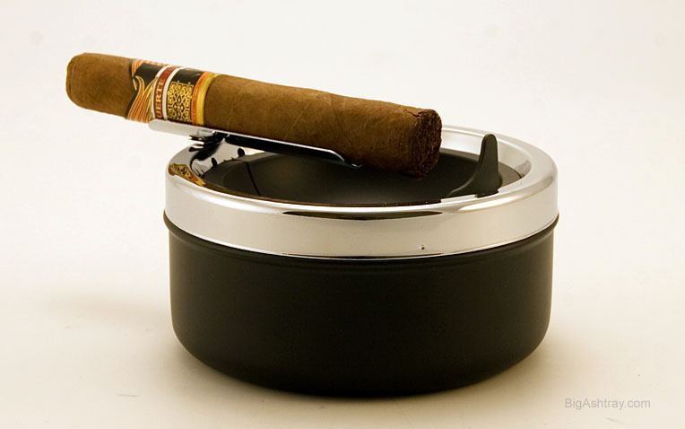 Cigar Ashtray With Long Single Cradle Rest, Deep Well And Trap Door