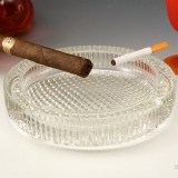 Quality crystal ashtray. English hobnail pattern blankets the base. Inner bowl is smooth. Quality mid century crystal ashtray, circa 1960's.