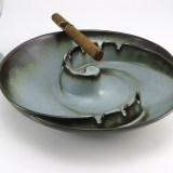 Vintage Frankoma Pottery art ashtray in Woodland Moss, a medium light blue with brown accent glaze.
