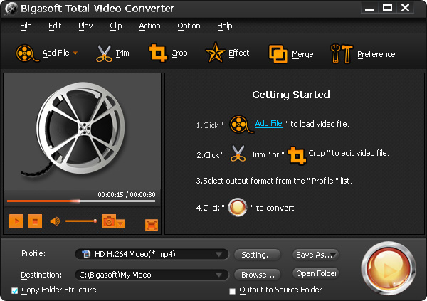 Screenshot of Bigasoft Total Video Converter