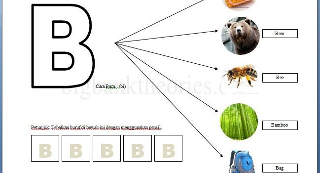 Lembar Latihan Alphabet Huruf B