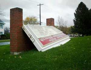 hurricane sandy damage bethlehem pa church sign blown down