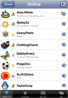 AIM buddy list on the iPhone