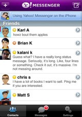 Yahoo Messenger for iPhone contacts