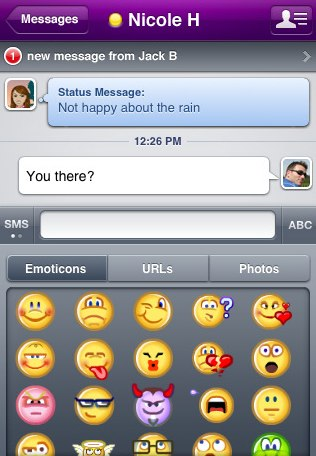 The emoticon screen in a chat session
