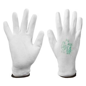 ถุงมือผ้าเคลือบPU แถบน้ำตาล