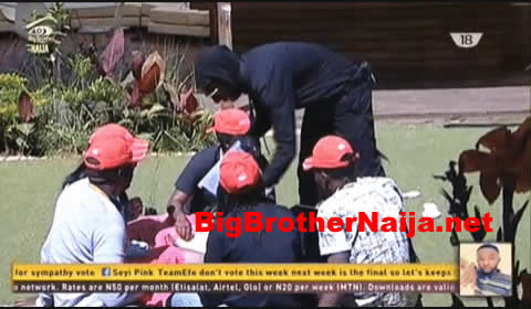 Task: Big Brother Naija 2017 Housemates Empty A Whole Bucket Of Rice Using Chopsticks