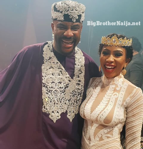 Mercy Eke Posing for a Photo With BBNaija host Ebuka Obi-Uchendu after being crowned Winner Of Big Brother Naija season 4