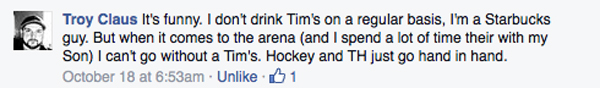 cannot do without my tim hortons troy claus fb message