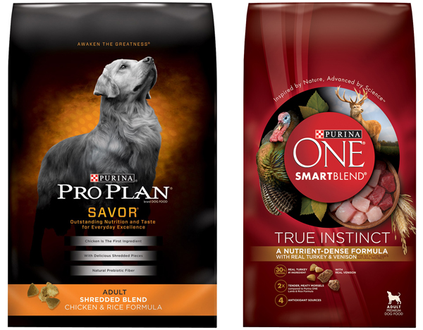 new food Purina ONE SmartBlend True Instinct Formula With Real Turkey & Venison and Purina Pro Plan Savor Shredded Blend Chicken and Rice Formula