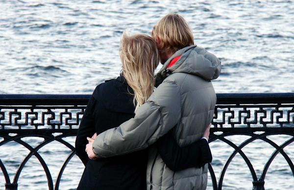 couple hugging gift