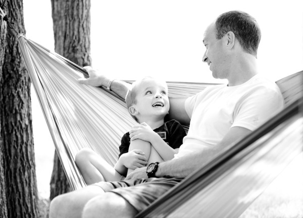 dad relaxing with son