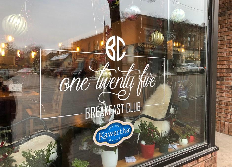 125 Breakfast Club window sign
