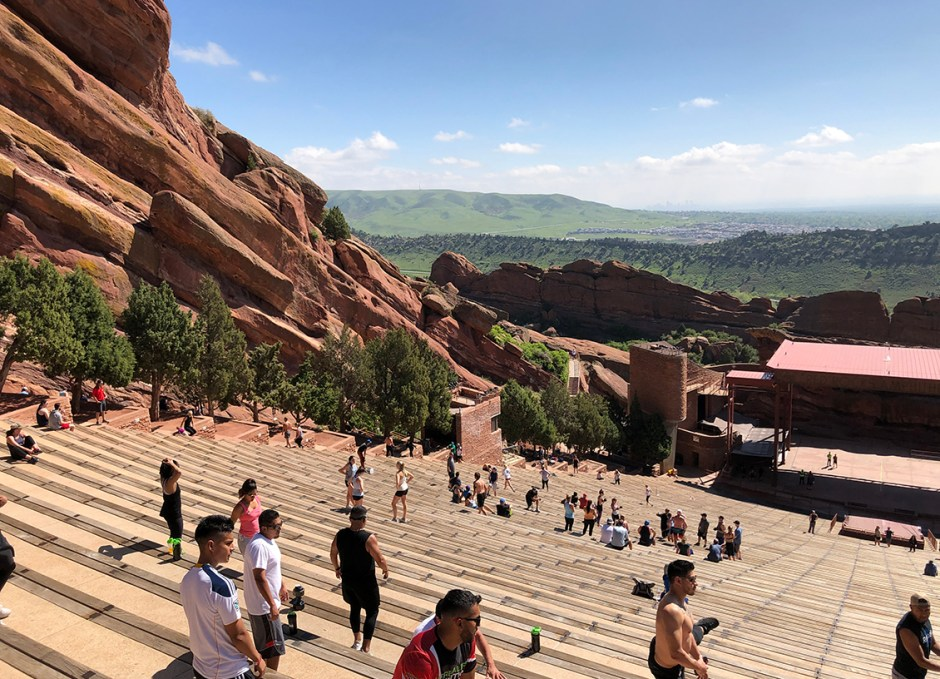 red rocks seating from top