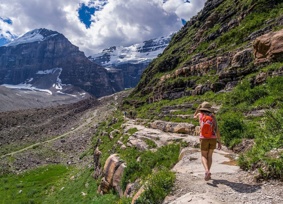 backpacking along a trail in banff alberta