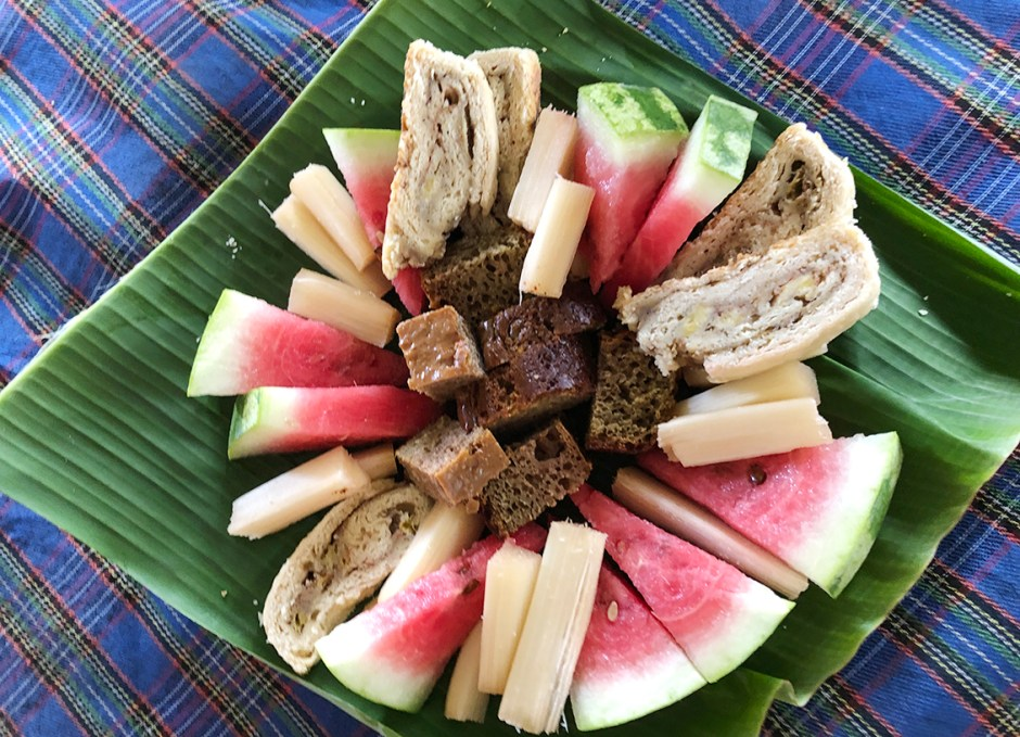 islet view restaurant castle bruce dominica fruit and cake tray