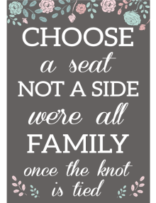 Choose A Seat Sign - Charcoal Flower