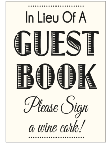 Guestbook Wine Cork Sign - Ivory