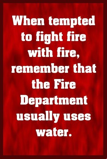 when tempted to fight fire with fire remember that the fire department usually uses water