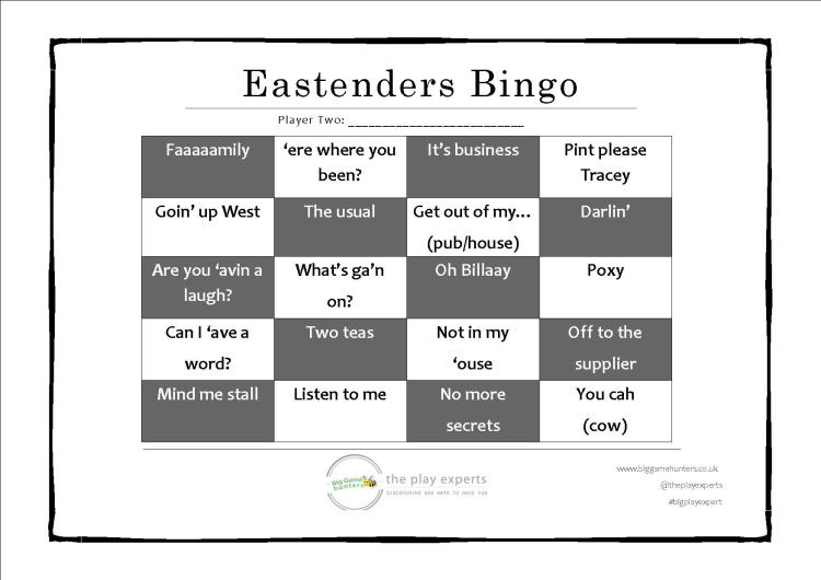 eastenders bingo player two playing card