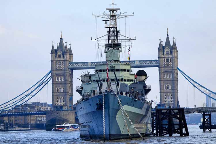HMS Belfast view from front