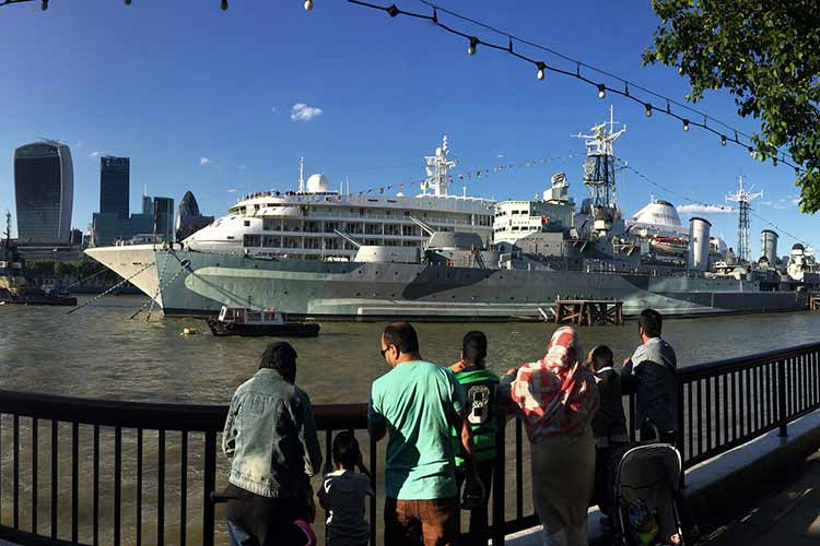 HMS Belfast view from side