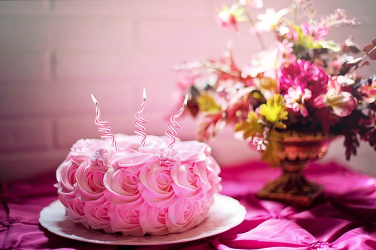 Pink birthday cake with icing