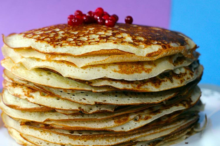 stacked pancakes for pancake day