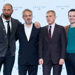Dave Bautista, Sam Mendes, Christoph Waltz & Andrew Scott at Spectre launch