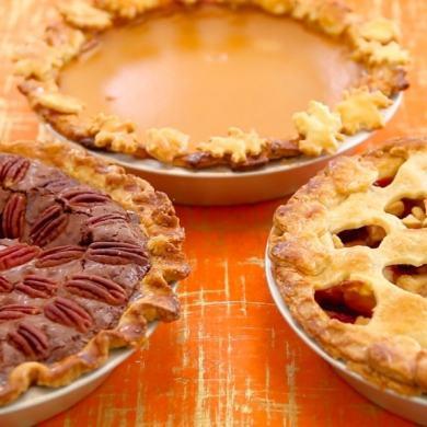 3 Homemade Pies (Pumpkin, Apple, Pecan Fudge)