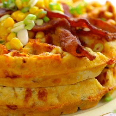Bacon & Cheddar Cornmeal Waffles