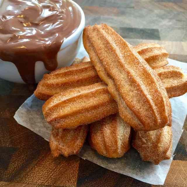 A close up of the cinnamon-sugar texture on my Homemade Churros, which are bake churros, not fried.
