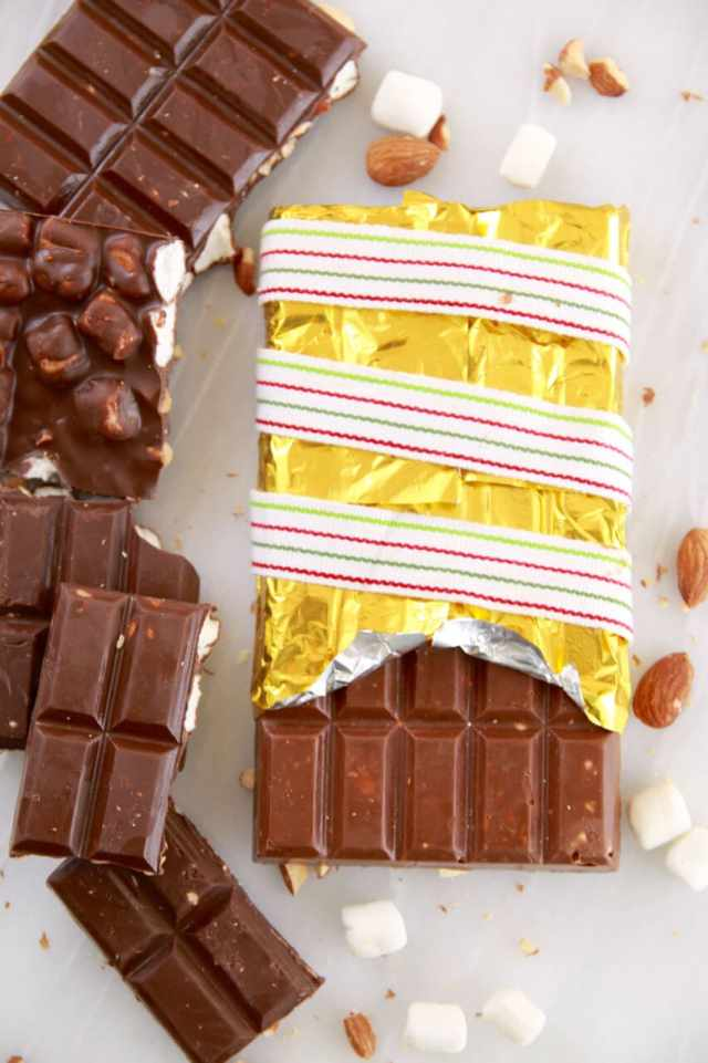 Homemade Chocolate Bars, Chocolate Bars, Candy, Homemade Candy, Easy Chocolate Bars, Candy, Candy Molds, Gemma Stafford, Bigger Bolder Baking, Edible Gifts, Food Gifts, Holiday Food Gifts, Desserts, Homemade Desserts, Holiday Desserts, Bold Baking, Bold Bakers, Rocky Road, Homemade Candies