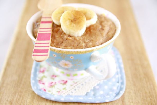 Microwave Peanut Butter & Banana Mug Cake- Heathy snack made with great ingredients (gluten free/high protein/all natural sugars)