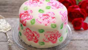 Celery Stamp Rose Painted Cake