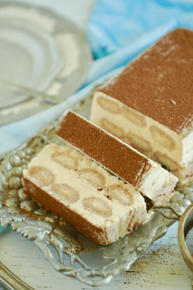 Tiramisu semifreddo recipe, sliced.