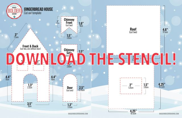 Gingerbread House Stencil, with measurements.