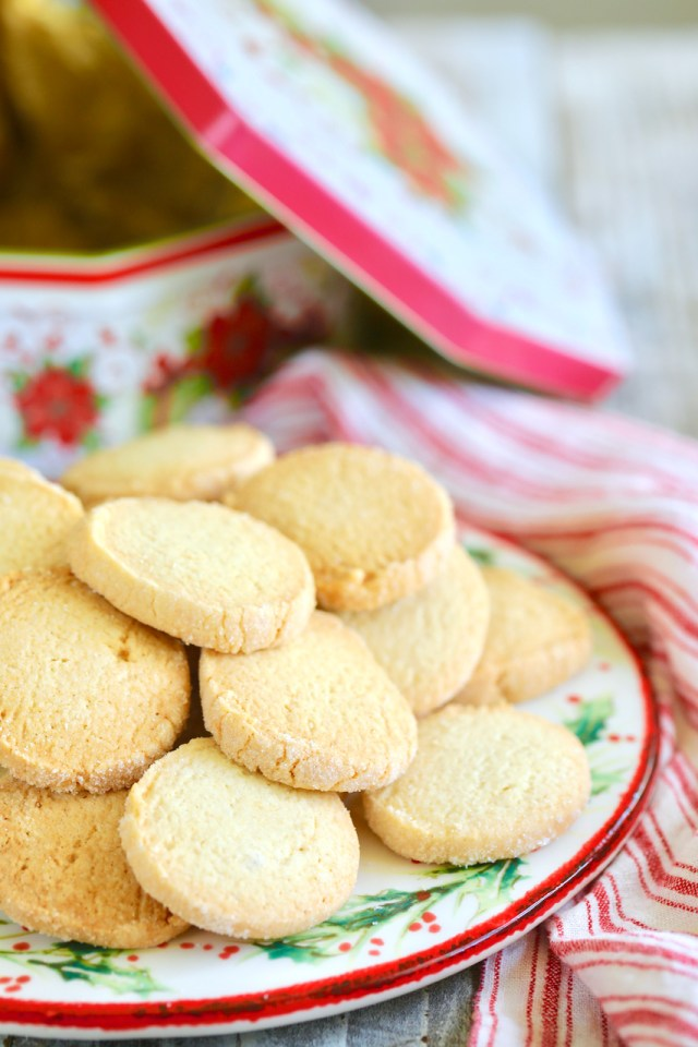 Gluten-Free Sugar Cookies recipe, already baked, piled on a plate and ready to eat.