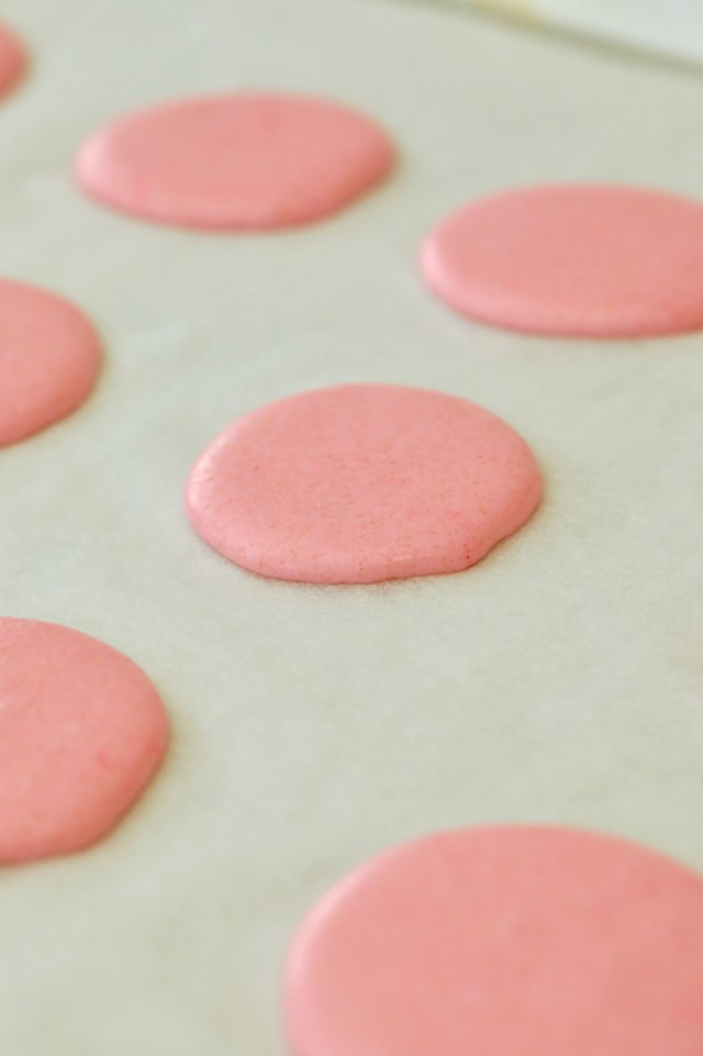 Macarons before baking, showing size and texture.