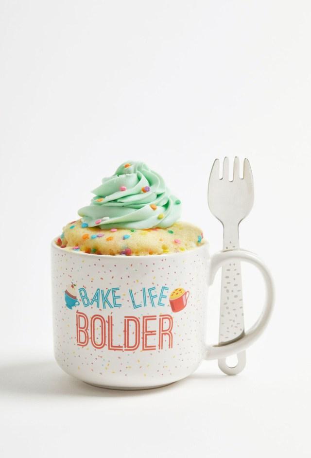 Gemma's Mug Meals Mug with funfetti cake and spork.