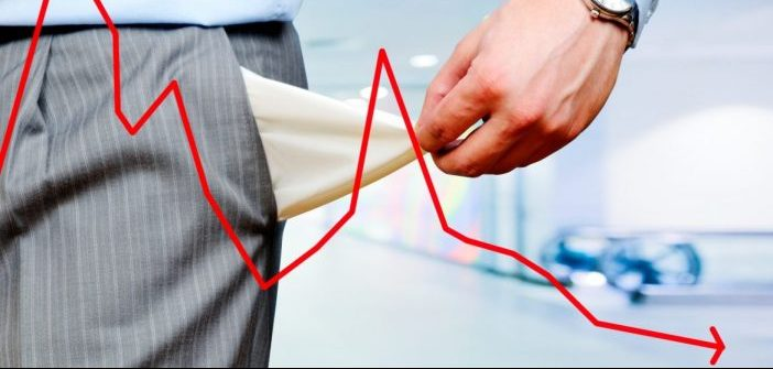 man showing his empty pockets and red line drawn indicating up and down market
