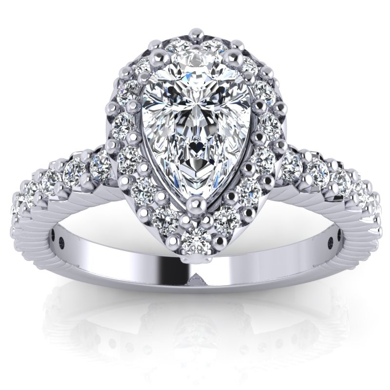 Pear Cut Diamond Engagement Ring 07525 Carat 3 Prongs