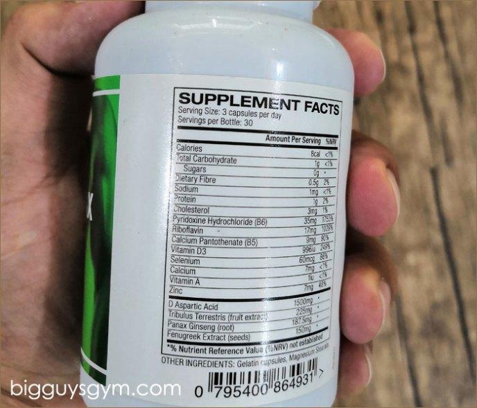 Ingredients in Testomax test booster