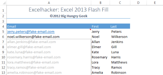 Flash Fill Create Email Addresses from Names